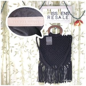NEW DANIELLE NICOLE BLACK CROCHET CROSSBODY BAG